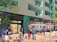 A rendering shows the design for new retail spaces for small businesses through the Rockwood Rising redevelopment project.